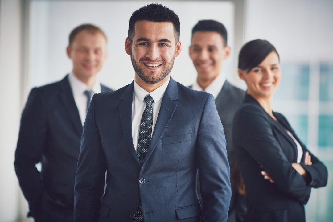Líder confiante de executivos